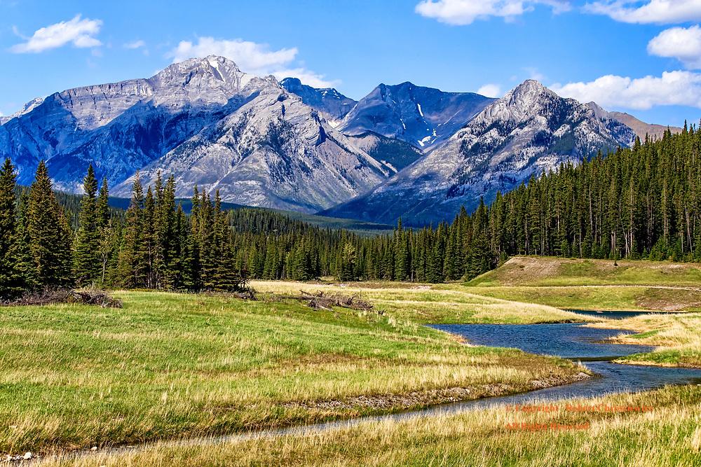 Mount Aylmer, Banff: A winding mountain stream leads the eye towards Mount Aylmer, Banff National Park, Alberta Canada.