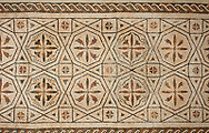 Pictures of a geometric crosses Roman mosaics design, from the ancient Roman city of Thysdrus. 3rd century AD. El Djem Archaeological Museum, El Djem, Tunisia. .<br /> <br /> If you prefer to buy from our ALAMY PHOTO LIBRARY Collection visit : https://www.alamy.com/portfolio/paul-williams-funkystock/roman-mosaic.html . Type - El Djem - into the LOWER SEARCH WITHIN GALLERY box. Refine search by adding background colour, place, museum etc<br /> <br /> Visit our ROMAN MOSAIC PHOTO COLLECTIONS for more photos to download as wall art prints https://funkystock.photoshelter.com/gallery-collection/Roman-Mosaics-Art-Pictures-Images/C0000LcfNel7FpLI