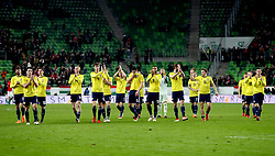 Scotland players applaud the fans after winning 1-0 against Hungary at the end of the international friendly match at the Groupama Arena, Budapest.