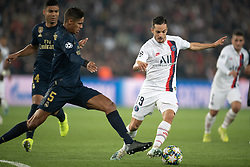 Pablo Sarabia of PSG and Raphael Varane of Real Madrid in action during the UEFA Champions League Raphael Varane Paris Saint Germain and Real Madrid at Parc des Princes on September 18, 2019 in Paris, France<br /> Photo by David Niviere/ABACAPRESS.COM