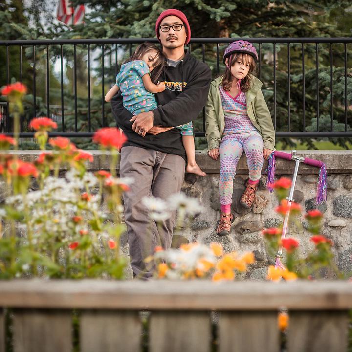 Neighbor Ted Kim and his daughters Kisun and Minsun, Anchorage South Addition Neighborhood