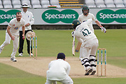 Hassan Azad batting against Ben Raine during the Specsavers County Champ Div 2 match between Durham County Cricket Club and Leicestershire County Cricket Club at the Emirates Durham ICG Ground, Chester-le-Street, United Kingdom on 20 August 2019.