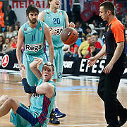 FC Barcelona Regal's Juan Carlos Navarro (L) and Joe Ingles (B) during their Euroleague Final Four semifinal Game 2 basketball match Olympiacos's between FC Barcelona Regal at the Sinan Erdem Arena in Istanbul at Turkey on Friday, May, 11, 2012. Photo by TURKPIX