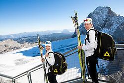 Alenka Cebasek and Vesna Fabjan during Training camp of Slovenian Cross country Ski team on October 23, 2012 in Dachstein Getscher, Austria. (Photo By Vid Ponikvar / Sportida)