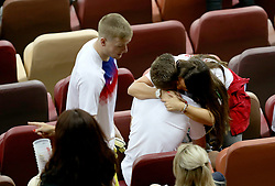 England's Jamie Vardy is hugged by his wife Rebekah Vardy after the FIFA World Cup, Semi Final match at the Luzhniki Stadium, Moscow.