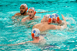 Bilal Gbadamassi, Jorn Muller, Jesse Koopman, Guus van IJperen of the Netherlands in action against Romania during the Olympic qualifying tournament. The Dutch water polo players are on the hunt for a starting ticket for the Olympic Games on February 16, 2021 in Rotterdam