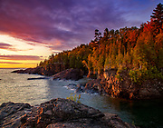 """Beautiful sunrise at Black Rock in Marquette, Michigan. <br /> <br /> 14"""" x 11"""" lustre print<br /> <br /> See pricing page for more information. <br /> <br /> Please contact me for custom sizes and print options including canvas wraps, metal prints, assorted paper options, etc. <br /> <br /> I enjoy working with buyers to help them with all their home and commercial wall art needs."""