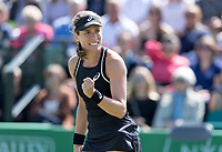 NOTTINGHAM, ENGLAND - JUNE 14: Johanna Konta of Great Britain celebrates beating Heather Watson of Great Britain during Day Six of the Nature Valley Open at Nottingham Tennis Centre on June 14, 2018 in Nottingham, United Kingdom. (Photo by James Wilson/MB Media/Getty Images)