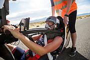 Iris Slappendel in de VeloX 7 tijdens de vierde racedag. Het Human Power Team Delft en Amsterdam, dat bestaat uit studenten van de TU Delft en de VU Amsterdam, is in Amerika om tijdens de World Human Powered Speed Challenge in Nevada een poging te doen het wereldrecord snelfietsen voor vrouwen te verbreken met de VeloX 7, een gestroomlijnde ligfiets. Het record is met 121,44 km/h sinds 2009 in handen van de Francaise Barbara Buatois. De Canadees Todd Reichert is de snelste man met 144,17 km/h sinds 2016.<br /> <br /> With the VeloX 7, a special recumbent bike, the Human Power Team Delft and Amsterdam, consisting of students of the TU Delft and the VU Amsterdam, wants to set a new woman's world record cycling in September at the World Human Powered Speed Challenge in Nevada. The current speed record is 121,44 km/h, set in 2009 by Barbara Buatois. The fastest man is Todd Reichert with 144,17 km/h.