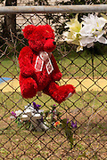 A makeshift memorial marks the spot on the fence where unarmed black motorist Walter Scott was gunned down by police following a traffic stop April 10, 2015 in Charleston, South Carolina. Scott was shot multiple times in the back and died on the scene after running from police.