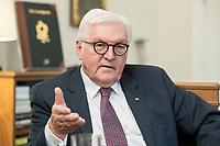 02 JUL 2018, BERLIN/GERMANY:<br /> Frank-Walter Steinmeier, Bundespraesident, waehrend einem Interview, Amtszimmer des Bundespraesidenten, Schloss Bellevue<br /> IMAGE: 20180702-01-037<br /> KEYWORDS: Bundespräsident