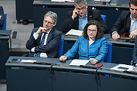 21 MAR 2019, BERLIN/GERMANY:<br /> Achim Post (L), MdB, SPD, und Andrea Nahles (R), SPD Farktionsvorsitzende, Bundestagsdebatte zur Regierungserklaerung der Bundeskanzlerin zum Europaeischen Rat, Plenum, Deutscher Bundestag<br /> IMAGE: 20190321-01-046