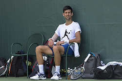 March 21, 2018 - Miami, FL, United States - Miami, FL - March, 21: Novak Djokovic (SRB) practices with Alexander Zverev (GER) at the 2017 Miami Open held at the Tennis Center at Crandon Park.   Credit: Andrew Patron/Zuma Wire (Credit Image: © Andrew Patron via ZUMA Wire)
