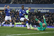 Romelu Lukaku of Everton puts the ball in the net to scores his teams 2nd goal. Capital one cup semi final 1st leg match, Everton v Manchester city at Goodison Park in Liverpool on Wednesday 6th January 2016.<br /> pic by Chris Stading, Andrew Orchard sports photography.
