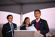 California State Assembly member Kansen Chu presents MUSD Board of Trustees President Danny Lau, and SJECCD Board of Trustees President Wendy Ho with an Assembly Certificate of Recognition during the Milpitas Unified School District and San Jose Evergreen Community College District Community College Extension Ground Breaking Ceremony near Russell Middle School in Milpitas, California, on November 17, 2015. (Stan Olszewski/SOSKIphoto)