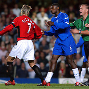 Chelsea Marcel Desially has a go at Manchester United's David Beckham