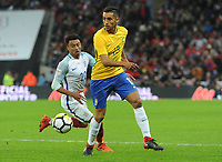 Football - 2017 / 2018 International Friendly - England vs. Brazil<br /> <br /> Jesse Lingard of England and Marquinhos of Brazil at Wembley.<br /> <br /> COLORSPORT/ANDREW COWIE