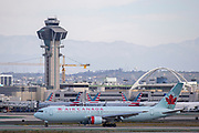 An Air Canada Boeing 767-300 taxis after landing at Los Angeles International Airport (LAX) on Saturday, February 29, 2020 in Los Angeles. (Brandon Sloter/Image of Sport)
