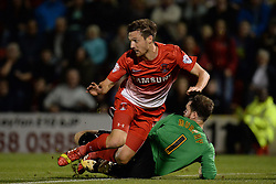 Coventry City's Joe Murphy makes a save at the feet of Leyton Orient's David Mooney - Photo mandatory by-line: Mitchell Gunn/JMP - Tel: Mobile: 07966 386802 08/10/2013 - SPORT - FOOTBALL - Brisbane Road - Leyton - Leyton Orient V Coventry City - Johnstone Paint Trophy