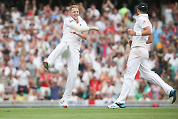 © Licensed to London News Pictures. 03/01/2014. Ben Stokes celebrates after getting a wicket during the 5th Ashes Test Match between Australia Vs England at the SCG on 03 January, 2013 in Melbourne, Australia. Photo credit : Asanka Brendon Ratnayake/LNP