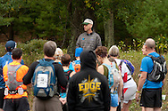 Kerhonkson, New York - Kerhonkson, New York - Runners take a photograph at the Peterskill parking area at Minnewaska State Park Preserve before competing in the Shawangunk Ridge Trail Run/Hike 20-mile race on Sept. 20, 2014.