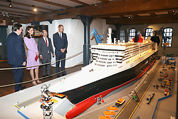 The Duke and Duchess of Cambridge are shown a Lego model of the Queen Mary 2 during a visit to the Maritime Museum in Hamburg, Germany.