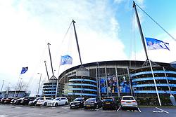 UEFA Champions League flags hang outside the Etihad Stadium - Mandatory by-line: Matt McNulty/JMP - 26/04/2016 - FOOTBALL - Etihad Stadium - Manchester, England - Manchester City v Read Madrid - UEFA Champions League Semi Final First Leg