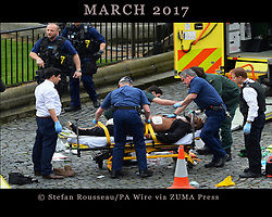 March 22, 2017 - London, UK - Emergency services at the scene outside the Palace of Westminster, London, after policeman has been stabbed and his apparent attacker shot by officers in a major security incident at the Houses of Parliament. UPDATE: This is the Westminster attacker who has been named as KHALID MASOOD. Police have identified Khalid Masood as the man who carried out the Westminster attack, as the death toll rose to five. Masood, 52, was born as Adrian Elms in Kent and was shot dead by police. (Credit Image: © Stefan Rousseau/PA Wire via ZUMA Press)