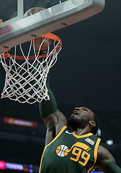 January 16, 2019 - Los Angeles, California, United States of America - Jae Crowder #99 of the Utah Jazz dunks the ball during their NBA game with the Los Angeles Clippers on Wednesday January 16, 2019 at the Staples Center in Los Angeles, California. Clippers lose to Jazz, 129-109. JAVIER ROJAS/PI (Credit Image: © Prensa Internacional via ZUMA Wire)