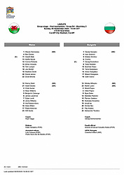 CARDIFF, WALES - Sunday, September 6, 2020: The official UEFA team-sheet during the UEFA Nations League Group Stage League B Group 4 match between Wales and Bulgaria at the Cardiff City Stadium. (Pic by David Rawcliffe/Propaganda)