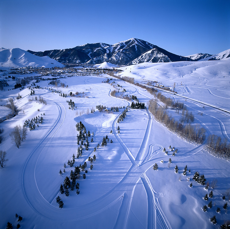 Edition of 35<br /> Winter Aerial of Sun Valley from the Bird's Eye View of a Hot Air Balloon