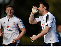 28 June 2013; Tommy Bowe and Owen Farrell, left, British & Irish Lions, during the captain's run ahead of their 2nd test match against Australia on Saturday. British & Irish Lions Tour 2013, Captain's Run. Scotch College, Hawthorn, Melbourne, Australia. Picture credit: Stephen McCarthy / SPORTSFILE