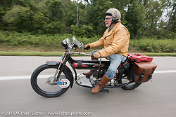 Frank Westfall of New York riding his 4-cylinder 1912 Henderson class-2 bike during the Motorcycle Cannonball Race of the Century. Stage-6 from Cape Girardeau, MO to Springfield, MO. USA. Thursday September 15, 2016. Photography ©2016 Michael Lichter.