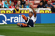 Jose Salomon Rondon of West Bromwich Albion celebrates after scoring his teams 1st goal. Barclays Premier League match, Stoke city v West Bromwich Albion at the Britannia stadium in Stoke on Trent, Staffs on Saturday 29th August 2015.<br /> pic by Chris Stading, Andrew Orchard sports photography.
