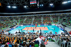 Arena during volleyball match between ACH Volley and Lube Banca Marche Macerata (ITA) in 5th Leg of Pool D of 2013 CEV Champions League on December 5, 2012 in Arena Stozice, Ljubljana, Slovenia. ACH defeated Macerata 3-1. (Photo By Vid Ponikvar / Sportida)