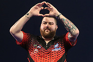 Michael Smith takes to the stage for his semi final match during the World Darts Championships 2018 at Alexandra Palace, London, United Kingdom on 30 December 2018.