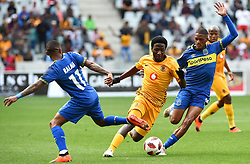 Cape Town-180915- Kaizer Chiefs midfielder Sphelele Ntshangase challenged by Cape Town City's Craig Martin and Suprise Ralani in the ABSA Premiership clash at the cape Town Stadium.Chiefs had  their first win of the season,when they trashed City 4-1.Photographs:Phando Jikelo/African News Agency/ANA
