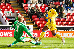 Stefan Payne of Bristol Rovers has a shot saved by Adam Davies of Barnsley - Mandatory by-line: Robbie Stephenson/JMP - 27/10/2018 - FOOTBALL - Oakwell Stadium - Barnsley, England - Barnsley v Bristol Rovers - Sky Bet League One