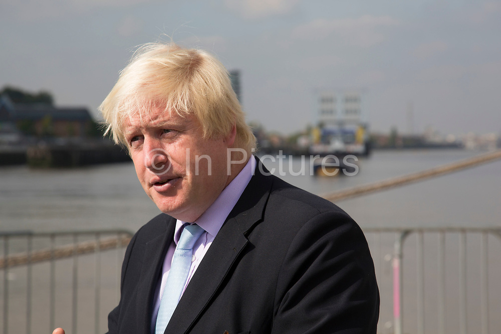 London, UK. Monday 8th September 2014. London Mayor Boris Johnson during a visit to Royal Greenwich Tall Ships Festival which is organized by RB Greenwich. The Festival is included as a highlight of Totally Thames, the new month-long promotion of river and riverside events delivered by Thames Festival Trust.