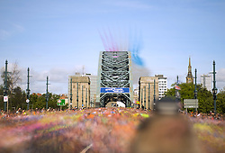 *EDITORS NOTE, LONG EXPOSURE PICTURE* The Red Arrows fly over the Tyne Bridge during the Great North Run in Newcastle. PRESS ASSOCIATION Photo. Picture date: Sunday September 11, 2016. See PA story ATHLETICS North. Photo credit should read: Steve Drew/PA Wire.