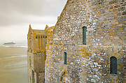 Abbey walls and bay, Mont Saint-Michel monastery, Normandy, France