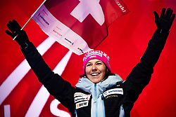February 8, 2019 - Re, SWEDEN - 190208 Wendy Holdener of Switzerland celebrates at the medal ceremony for the women's combination during the FIS Alpine World Ski Championships on February 8, 2019 in re  (Credit Image: © Daniel Stiller/Bildbyran via ZUMA Press)
