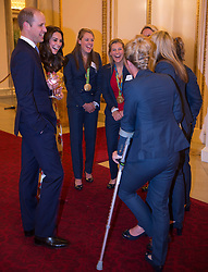 October 18, 2016 - London, United Kingdom - UK OUT Image licensed to i-Images Picture Agency. 18/10/2016. London, United Kingdom. The Duke and Duchess of Cambridge talk to the Ladies Hockey team at a reception for Team GB and ParalympicsGB medallists from the 2016 Olympic and Paralympic Games at Buckingham Palace in London. Picture by ROTA / i-Images  UK OUT (Credit Image: © Rota/i-Images via ZUMA Wire)