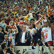 Galatasaray's coach Fatih Terim (C) celebrate victory during their Turkish Super League soccer match Galatasaray between Sivasspor at the AliSamiYen Spor Kompleksi TT Arena at Seyrantepe in Istanbul Turkey on Sunday 05 May 2013. Photo by TURKPIX
