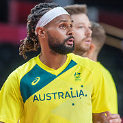TOKYO, JAPAN August 5: Patty Mills #5 of Australia during team warm up before the Australia V USA semi final basketball match for men at the Saitama Super Arena during the Tokyo 2020 Summer Olympic Games on August 5, 2021 in Tokyo, Japan. (Photo by Tim Clayton/Corbis via Getty Images)