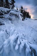 An ice-encased shore near Marquette.