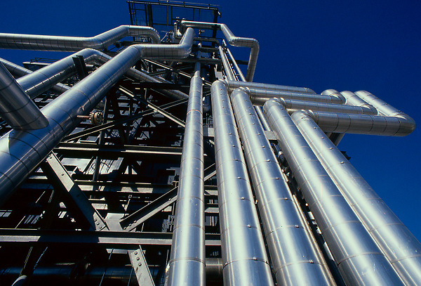 Abstract detail view of pipelines at a petrochemical plant in LaPorte, Texas.