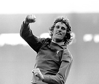 Ray Clemence - Liverpool. After Liverpool had scored,  Liverpool v Leeds United  16/3/74. Credit: Colorsport