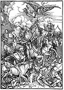 Four Horsemen of the Apocalypse, illustrating 'Bible' New Testament, Revelation of St John. Archangel watches as four agents of destruction, two of war and one each of famine and pestilence, gallop across the earth. Woodcut by Albrecht Durer, 1498.