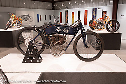 Nancy (from the Sex Pistols' Sid & Nancy), a 1912 Flying Merkel 61 cubic inch, 7-1/4 hp big valve racer built by Billy Lane. On view in the What's the Skinny Exhibition (2019 iteration of the Motorcycles as Art annual series) at the Sturgis Buffalo Chip during the Sturgis Black Hills Motorcycle Rally. SD, USA. Thursday, August 8, 2019. Photography ©2019 Michael Lichter.